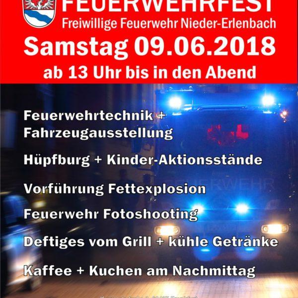 Einladung Feuerwehrfest der Freiwilligen Feuerwehr Nieder-Erlenbach am Samstag 09.06.2018
